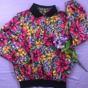 Vintage Floral Polo Pullover